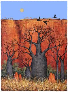 Boabs and the Termite Mounds Australian Painting, Australian Artists, Abstract Landscape, Landscape Paintings, Landscapes, Australia Landscape, Indigenous Art, Expo, Aboriginal Art