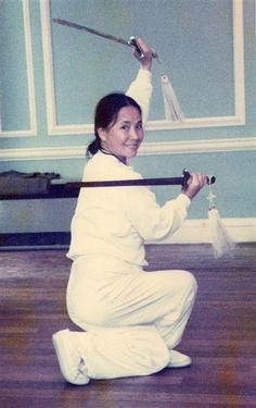 Master Bow Sim Mark, mother of Donnie Yen. Double Straight Swords