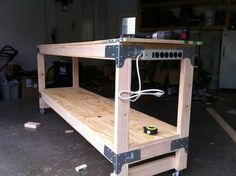 Six feet long workbench built with the simpson strong ties hardware and brackets