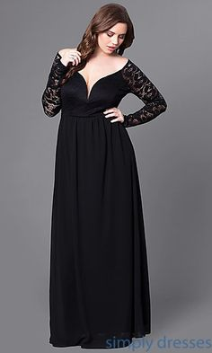 size dress formal Full-Figure Dresses and Plus-Size Prom Gowns -PromGirl - PromGirl Plus Size Holiday Dresses, Plus Size Black Dresses, Evening Gowns With Sleeves, Plus Size Evening Gown, Full Figure Dress, Bridesmaid Dresses With Sleeves, Black Lace Bridesmaid Dress, Black Dress With Sleeves, Moda Plus Size