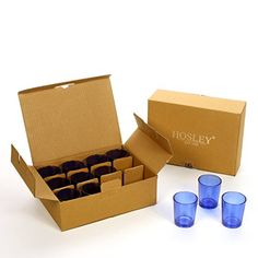 Hosleys Set of 24 Blue Glass Votive  Tea Light Holders ideal for weddings party spa aromatherapy tealight Gifts Votive Candle gardens * You can find more details by visiting the image link.-It is an affiliate link to Amazon. #CandlesHolders