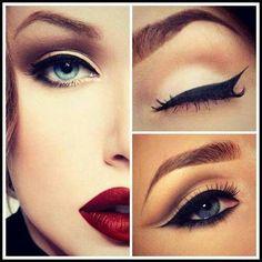 Makeup delineado grueso y labios rojos.