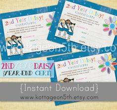 SALE - Second Year End Daisy Certificates - 4x6 Instant Download Scout Girl Award - 2nd - Printable JPEG File - Bridging Ceremony.  So cute! Love it? Please help spread the word and support small business (and fellow Girl Scout mama) by purchasing this listing from www.kottageon5th..... Thank you!