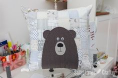 Patchwork Bear Pillow Tutorial - The Sometimes Crafter