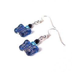 Blue butterfly earrings glass butterfly by sparklecityjewelry