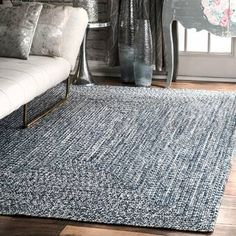 Wade Logan Braided Handmade Hand-Braided Gray/Off-White Indoor/Outdoor Area Rug Outdoor Area Rugs, Handmade Modern, Blue Area, Indoor Outdoor Area Rugs, Modern Wool Rugs, Rugs, Braided Rugs, Indoor Rugs, Area Rugs
