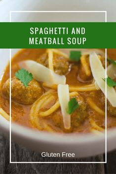 Gluten Free Spaghetti and Meatball Soup for #SundaySupper. This delicious soup recipe lightens up the classic dish. Making for a flavorful soup the whole family will love!