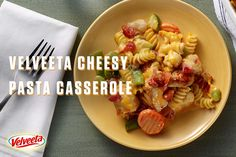 VELVEETA Cheesy Pasta Casserole - Ooey-gooey casserole has never been easier. Pasta, frozen veggies, VELVEETA and chicken come out of the oven bubbling-hot and delicious. For more Endless Gold recipes visit velveeta.com