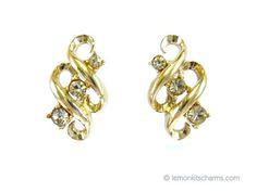 Vintage Coro Rhinestone Scroll Earrings Jewelry 1950s