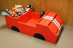 Race Car Kids Toy Box Lightning McQueen red with by JKartshop, $375.00