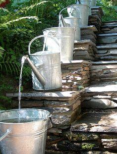Arrosoirs en cascade pour fontaine Pinterest via Nat et nature