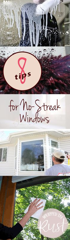 8 Tips for No-Streak Windows  How to Get No Streak Windows, Window Cleaning Tips and Tricks, The Right Way to Clean Windows, Clean Home, Home Cleaning Hacks, Cleaning Tips and Tricks, Popular Pin