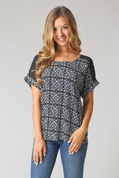 Black-White-Printed-Chiffon-Shoulder-Blouse