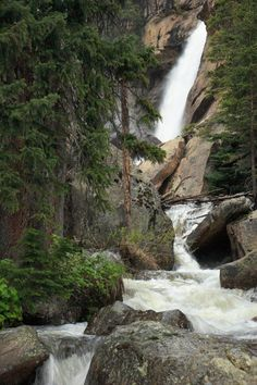 Ouzel Falls, in the Wild Basin area of Rocky Mountain National Park. My favorite hike in the park. Oh The Places You'll Go, Places To Travel, Places To Visit, Rocky Mountains, Beautiful Waterfalls, Rocky Mountain National Park, Adventure Is Out There, Nature Photos, Vacation Spots