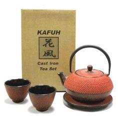 4 piece Cast Iron Tea Set w/ Trivet (Burgundy Red).