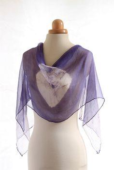 Bright Blue purple naturally dyed chiffon silk scarf, shibori hand dyed with logwood