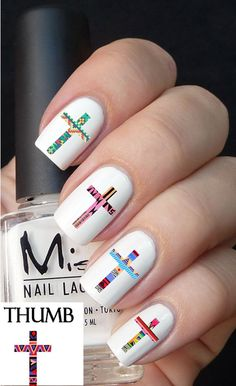 Tribal cross nail decal by DesignerNails on Etsy, $3.95