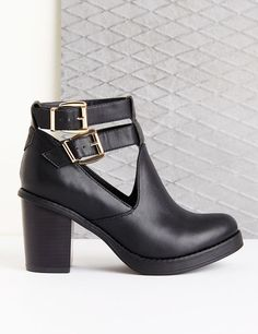 Bottines simili cuir noires