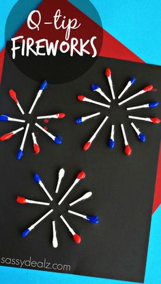Q-Tip Fireworks Craft for Kids - of July Crafts for Kids Stars, stripes, fireworks, and flags. Grab the kids and the craft supplies and get creative with some fun and easy of July crafts for kids. Daycare Crafts, Toddler Crafts, Kids Daycare, Classroom Crafts, Summer Crafts, Holiday Crafts, Preschool Crafts, Kids Crafts, Kindergarten Crafts