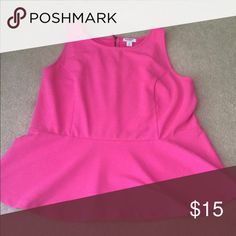 Hot pink peplum top Adorable peplum top. Very stylish Old Navy Tops