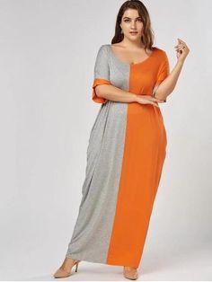 9e9eebd93e2 Chic Plus Size Maxi Color Block Baggy T-shirt Dress