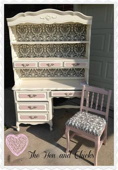 French Provincial Bedroom Furniture Redo turquoise taffy…. vintage french provincial desk and hutch | girls