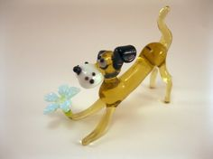 Blown Glass Dog Miniature, Sculpture, Figurine, Lampwork, Dog with flower