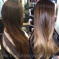 Cool brunette base melting into light beige blonde balayage ombre. Long layers and a quick blowdry! Hair by Danni in Denver, CO