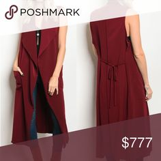 COMING SOON! COMING SOON WILL BE $45  COMING SOON BRAND NEW BOUTIQUE ITEM PRICE IS FIRM   CHIC & CLASSY Sleeveless long line vest with pocket details featured in a gorgeous burgundy color! 100% POLYESTER ALSO AVAILABLE IN OLIVE GREEN! model is wearing a size small . Tops