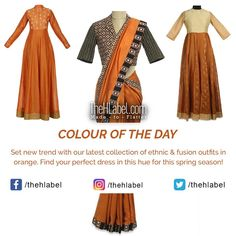 Look and with Orange - Says TheHLabel The HLabel's wide range of and wear collection in this hue is perfect for any event. Opt for this colour to get a appearance. Color Of The Day, New Trends, Kurti, Hue, Cool Designs, Ethnic, Colour, Orange, Elegant