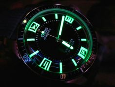 Oris Divers Sixty-Five Topper Edition Watch dial lume