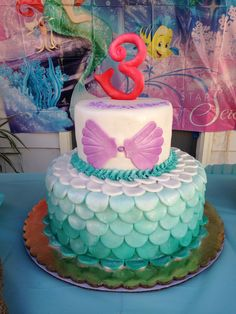 Little Mermaid cake. Birthday ideas. Girls parties. Decorations.