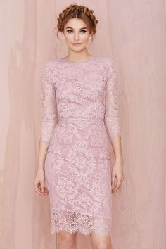 Gorgeous pink lace dress.