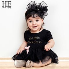 Awesome HE Hello Enjoy Baby girl dress wedding summer 2017 bodysuit baby girl clothes Letter short-sleeved black dress vestido infantil - $25.35 - Buy it Now!
