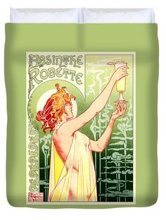 Vintage Absinthe Robette AdDuvet Cover, by Joy McKenzie (restored image), in several sizes with matching throw pillow, on Pixels.com #interiordesign #absinthe #green