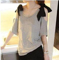 Women's Bow Shoulders Straps T-Shirt