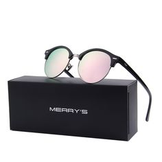 MERRY S Polarized Sunglasses for Men Women Semi Rimless Retro Brand Sun Glasses S8054