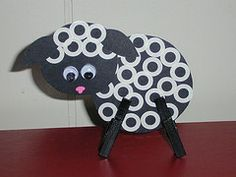 Sheep we made at Crossett.black cardstock, paper reinforcers, clothespins painted black, and pink paint pen. i think it would be cute to stamp with milk cap edges Sheep Crafts, Farm Crafts, Church Crafts, Cute Crafts, Farm Activities, Preschool Themes, Preschool Activities, Farm Lessons, Farm Fun