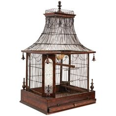 19th Century Inlaid Rosewood Birdcage