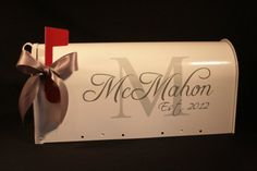 Wedding Mailbox- Card Box - Standard USPS size - White - Block Initial and Script Name. $59.00, via Etsy.