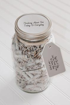 365 Message Filled 64 oz Wish Jar- Personalized Neutral Perfection - Modern Diy Birthday, Birthday Gifts, Words Of Appreciation, Jar Gifts, Christian Gifts, Love Notes, Graduation Gifts, Boyfriend Gifts, Valentine Gifts