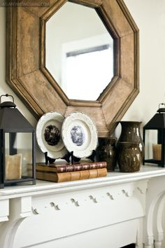 Mantel; octagonal mirror