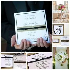 Black and Seagrass Wedding Invitation Suite, Table Numbers, Programs, Menus and Place Cards by Fort Lauderdale Invitations - Visit our website for ordering information or search for us on Etsy @ Milgrim Designs! Fort Lauderdale * Hollywood * Miami * Palm Beaches * We Ship across the USA!