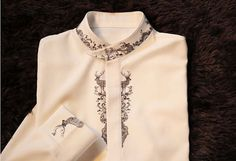 Fine Art Collection white bird and deer hand-painted unique elegant shirt
