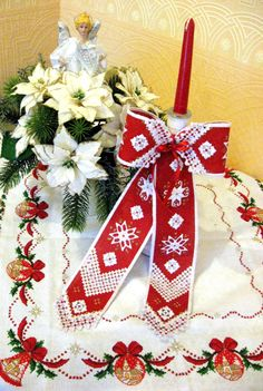 """Embroidery Hardanger PDFpatterns""""Christmas front door bow"""" (Christmas Decoration) design & diagram"""