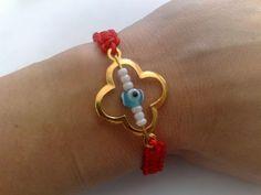 Bracelet macrame red cord cross tinas creations evil eye 16cm alloy gold plated #TinasCreations #macrameadjustablebracelet