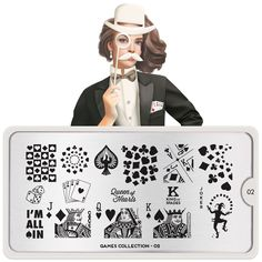 Designed in the UK, these elegant fashion forward nail art stamping plates come from MoYou-London. You can't go wrong with high quality stainless steel plates. Moyou Stamping, Nail Art Stamping Plates, Poker, Nail Art Games, London Nails, Ipad, Image Plate, Nail Art Designs, Cards