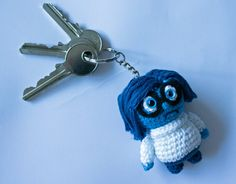 Crocheted Inside Out Sadness keychain