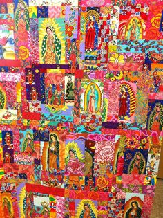 totally awesome Our Lady of Guadalupe quilt - Lizzie, do you like these fabrics? I have dupes. Catholic Crafts, Catholic Art, Religious Art, Religious Pictures, Mexican Crafts, Mexican Art, Madonna, Mama Mary, Steampunk