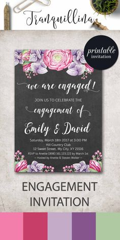 Engagement Invitation, Engagement Party Invitation, Couples Shower Invitation, Printable Engagement Invitation Floral Engagement Invite. tranquillina.etsy.com